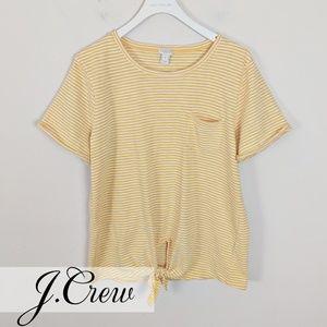 J. Crew • Yellow & White Stripe Pocket Tee Shirt